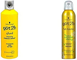 Got2b Glued Blasting Freeze Spray, 12 Ounce AND got2b fat-tastic Instant Collagen Infusion Mousse, 8.5 Ounces