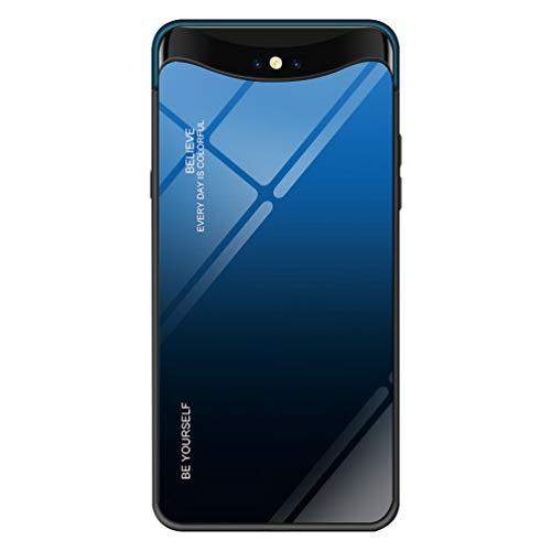LEDOWP Gehärtetes Glas Hülle für Oppo FIND X Hülle, Weich Silikon Stoßstange [Stoßdämpfend] mit [Anti-Scratch] Gradient 9H Hard Glas Back Schutzhülle Hülle -Blue Black
