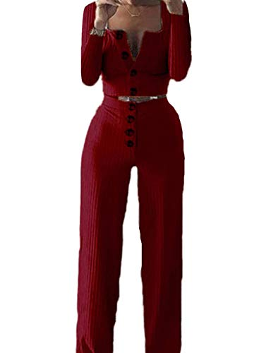 FOBEXISS Suéter acanalado para mujer, 2 piezas, ropa de salón de manga larga con botones, cintura alta, pantalones largos
