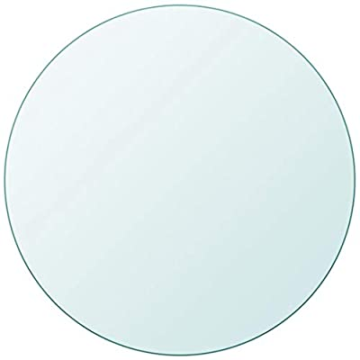 """SANON Universal All-in-One Desktop Solid Wood Desktop Table Top Tempered Glass Round 19.7"""""""