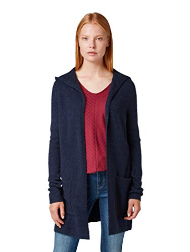 TOM TAILOR Damen Pullover & Strickjacken Strickjacke mit Kapuze Sky Captain Blue,S
