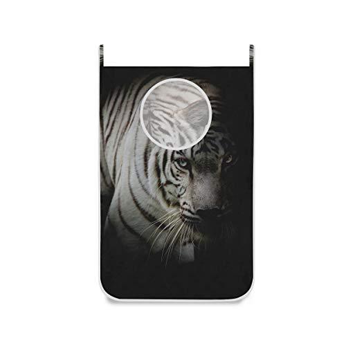 XiangHeFu Bolsa de Tela Cesta Cesto para la Ropa Cesto de la Ropa Baño Grande Plegable Noche Tigre Blanco Animal