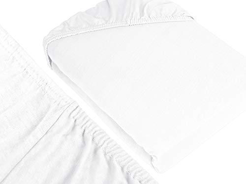 npluseins klassisches Jersey Spannbetttuch – erhältlich in 34 modernen Farben und 6 verschiedenen Größen – 100% Baumwolle, 70 x 140 cm, weiß - 3