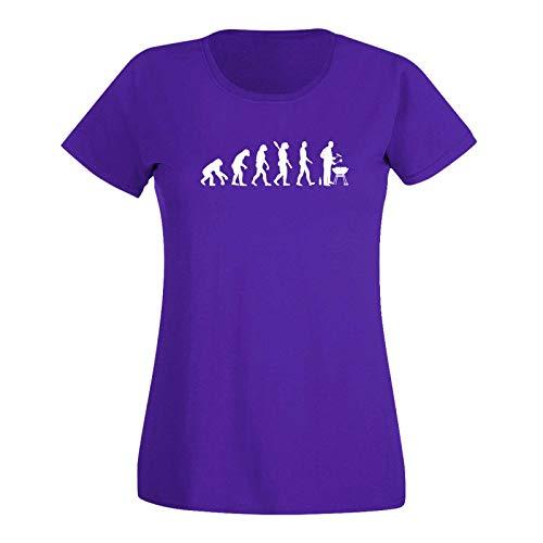 T-Shirt Evolution Grillmeisterin Grillen BBQ Koch Weber 15 Farben Damen XS - 3XL Smoker Kugelgrill Feuerschale Holzkohle Grillsaison, Größe: 3XL, Farbe: lila/Purple - Logo Weiss