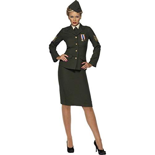 Smiffys Costume d'officier temps de guerre, vert, avec jupe, veste avec médaille, plastr,Vert,S