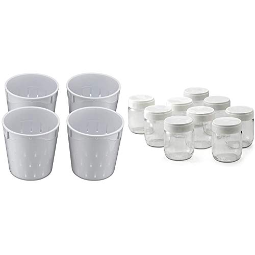 Lagrange 440004 Lot de 4 Faisselles pour Fromagère 0.25 L & lagrange 430301 Lot de 9 pots yaourt, 0.185 liters