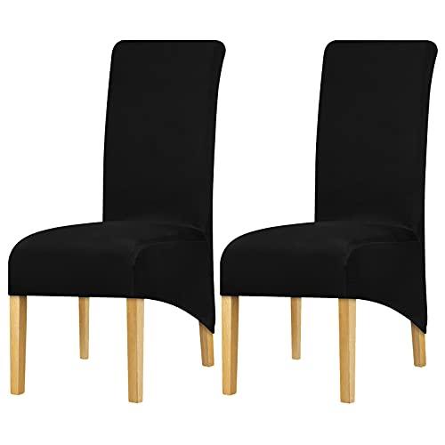 Leorate Funda de silla elástica de licra para respaldo alto, para boda, fiesta, comedor, decoración del hogar, color negro 2 piezas 🔥