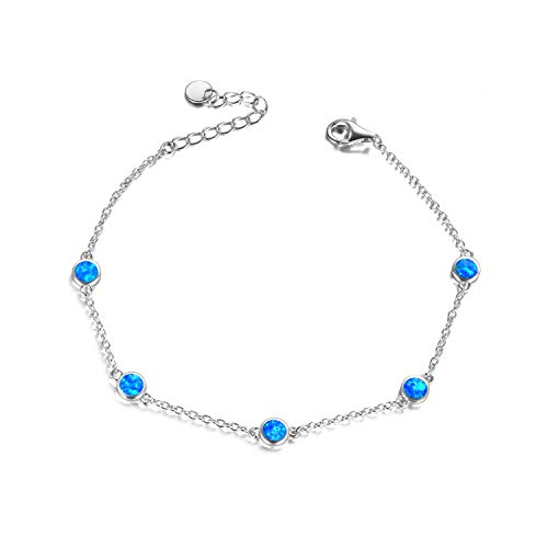 Blue Fire Opal Anklets for Women, Sterling Silver s925, Adjustable Anklets Jewellery Gifts for Women (Blue Opal anklets)