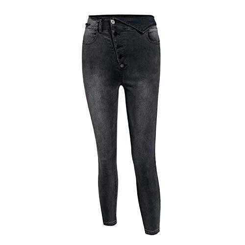 Mode Hoge Taille Knop Skinny Zwarte Jeans Broek Vrouwen Casual Vouw Potlood Jean Vrouwelijke Zomer Denim Broek