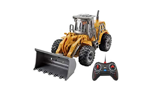 Bulldozer Excavadora Teledirigida RC Mini Camión Construcción Excavadoras RC Radiocontrol a Bateria con Luces | Juguete para Niños con Mando Control Remoto