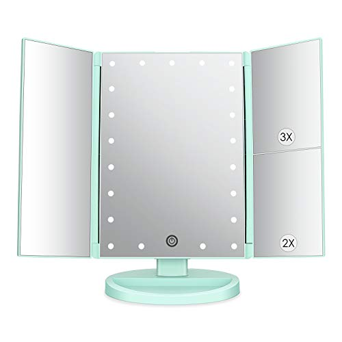 Espejo de Maquillaje con LED, Natural Iluminado Espejo de Mesa Luz con...