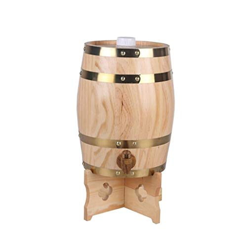 ZSYGFS Barril Roble Barril De Madera, Barrica De Vino Barrica De Roble Hogar Restaurante Decoración Dispensador De Agua Barril De Cerveza Jugo De Vino Hogar 5L (Color : Wood)