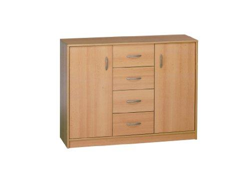 MAJA Möbel Kommode, buche, Mehrfarbig, 2 Türen 4 Schubladen, 1.066 x 870 x 350 mm
