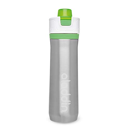 Aladdin Active Hydration Thermavac Stainless Steel Water Bottle 0.6L Grün – Mehrwegwasserflasche - Auslaufsicher - Doppelwandige Vakuumisolierung - Hält 10 Stunden Kalt - BPA-Frei - Spülmaschinenfest