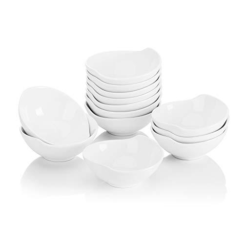 MALACASA Série Ramekin Dish, 12x Ramequin Moule à Soufflé Crème Brulée Bol Porcelaine 11 * 10 * 4cm