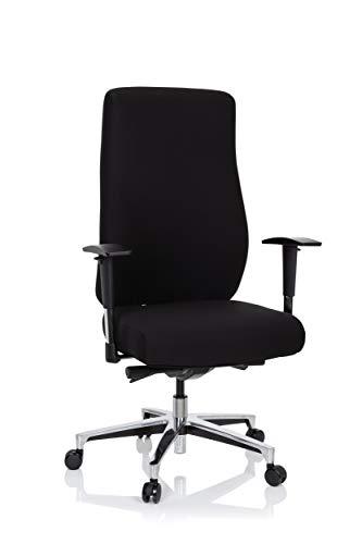 hjh OFFICE 702312 Profi Bürostuhl FORCOM Stoff Schwarz Drehstuhl gepolstert, breite Sitzfläche, hohe Rückenlehne, bis 130kg belastbar