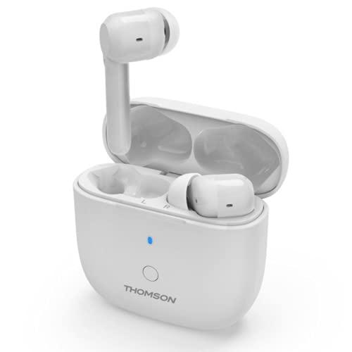 Thomson - Auriculares inalámbricos con micrófono Wear 7811W Bluetooth y ANC con función de reducción de ruido activa, 4 horas de audiencia, color blanco