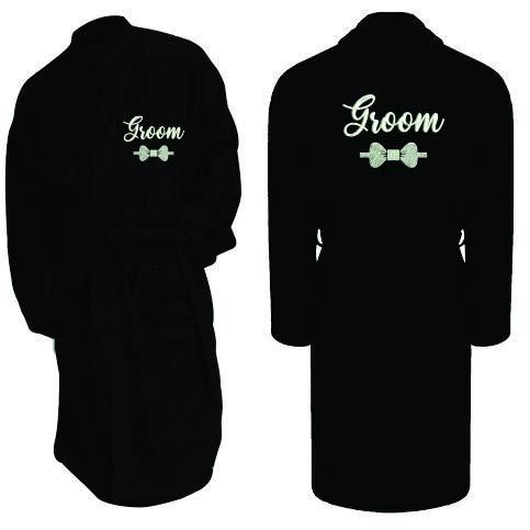 Amo Distro Albornoz bordado personalizado para hombres y mujeres, albornoz para parejas, personalizable, con cualquier nombre o texto, 100% algodón, bata de baño con cinturón