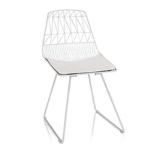 hjh OFFICE Wirea 645058 - Silla de metal con cojín, color blanco