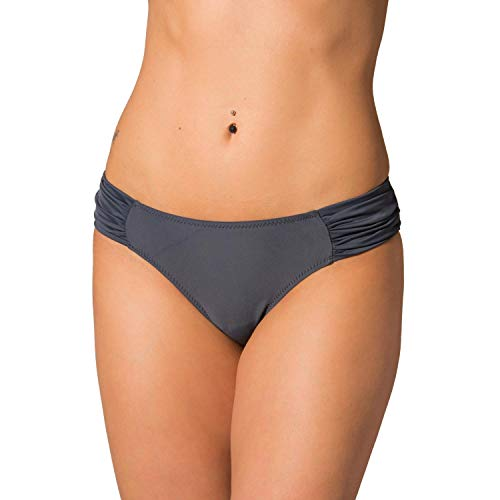 Aquarti Damen Bikinihose mit seitlichen Raffungen, Farbe: Graphit, Größe: 42