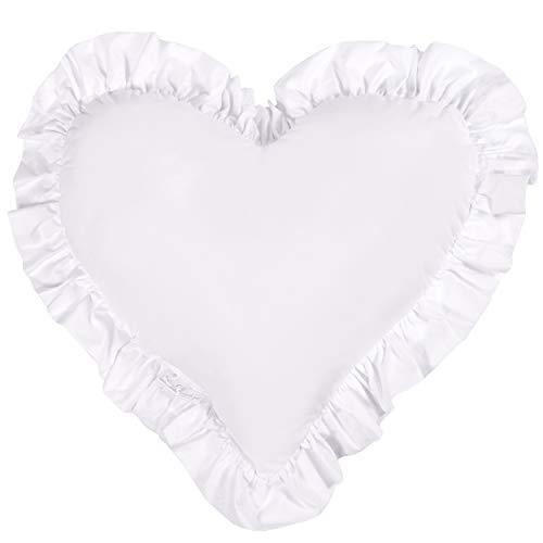 Etrader - Cuscino decorativo a forma di cuore con increspature, cuscino decorativo a forma di cuore, per soggiorno, camera da letto, 45 x 50 cm, cotone (23 bianco)