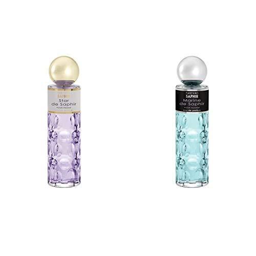 PARFUMS SAPHIR Star, Eau de Parfum con vaporizador para Mujer, 200 ml + Marine, Eau de Parfum con vaporizador para Hombre, 200 ml