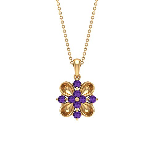 Round Cut 3/4 CT Lab Created Lavender Amethyst Pendant, Purple Stone Cluster Necklace, Solid Gold Engraved Necklaces, Filigree Necklace (AAAA Quality), 14K Yellow Gold