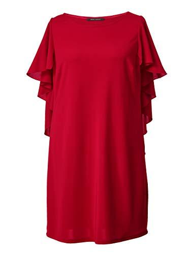 Sara Lindholm Jersey-Kleid mit Volants Viskose Rot