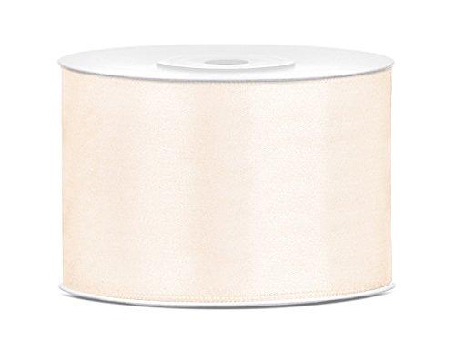 SiDeSo® Satinband 25m x 50mm viele Farben Hochzeit Dekoband Geschenkband Antennenband Schleifenband (Elfenbein)