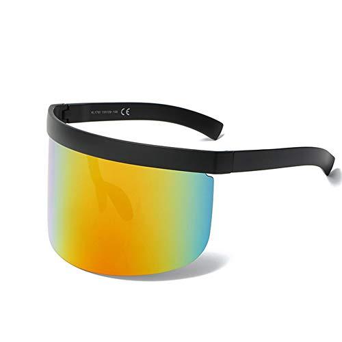 GSJDD Gafas de Sol de Gran tamaño Futuristic Shield, Gafas de Sol Planas antivaye para Hombres Protección polarizada contra Rayos UV Ray-Ban Deportes al Aire Libre Unisex