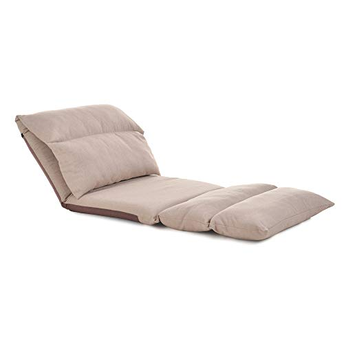 Large Size Floor Chair Adjustable 5 Positions Recliner Chairs for Adults, Comfortable Memory Foam and Back Support, Living Room Lounger Chair for Gaming, Reading, Meditating, Beige
