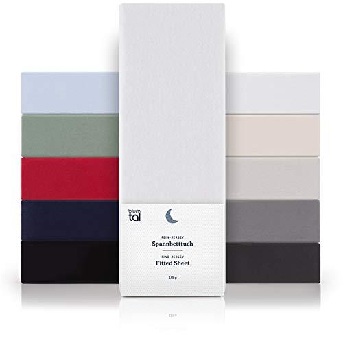 Blumtal Basics Baumwolle Spannbettlaken 140x 200 cm - 100% Baumwolle Bettlaken, bis 25cm Matratzenhöhe, Weiß