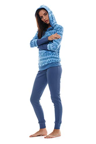 JASMINE ROSE Women's Sleepwear Long Sleeve Top & Pant Soft Comfortable Hooded Winter Pajama Set -  Blue -  Medium