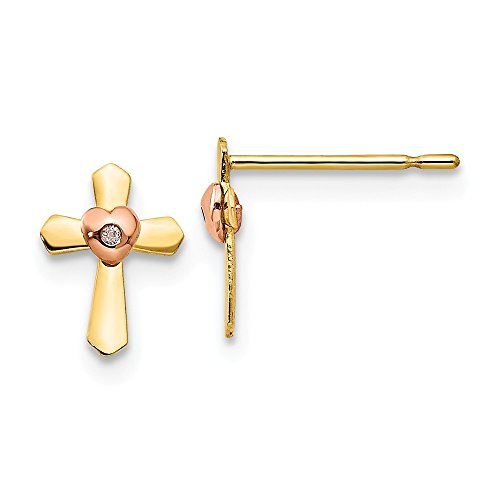14k Yellow Rose Gold Childrens Cross Religious Heart Post Stud Earrings Love Fine Jewelry For Women Gifts For Her