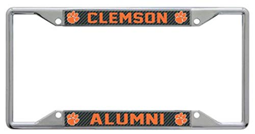 WinCraft Clemson University Alumni Premium License Plate Frame, Carbon Fiber Graphics, Chrome with Laser Etched Letters