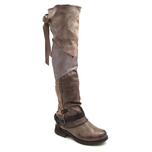 Angkorly - Damen Schuhe Oberschenkel-Boot Stiefel - Biker - Flexible - Classic - String Tanga - Schleife - Knoten Blockabsatz 3.5 cm - Khaki F81 T 36