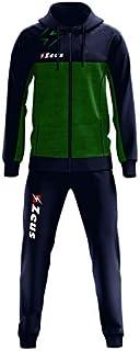 Zeus Tuta Olympia Donna Uomo Relax Passeggio Cappuccio Zip Intera Tasche Laterali Nuovo Modello (M, Verde-Blu)