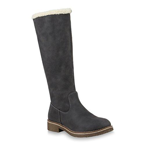 Klassische Damen Stiefel Warm Gefütterte Boots Winter Schuhe 153711 Grau Weiss 36 Flandell