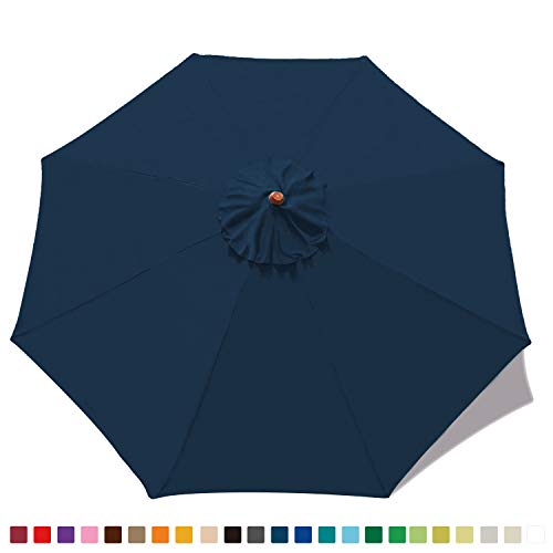 ABCCANOPY 9ft Outdoor Umbrella Replacement Top Patio Umbrella Market Umbrella Replacement Canopy with 8 Ribs(Navy Blue)
