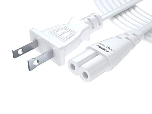 Pwr+ TV Power Cord 12Ft Cable for Samsung LG TCL Sony: 2 Prong AC Wall Plug 2-Slot LED LCD Insignia Sharp Toshiba JVC Hisense Electronics UN65KS8000FXZA UN40J5200AFXZA 43UH6100 White