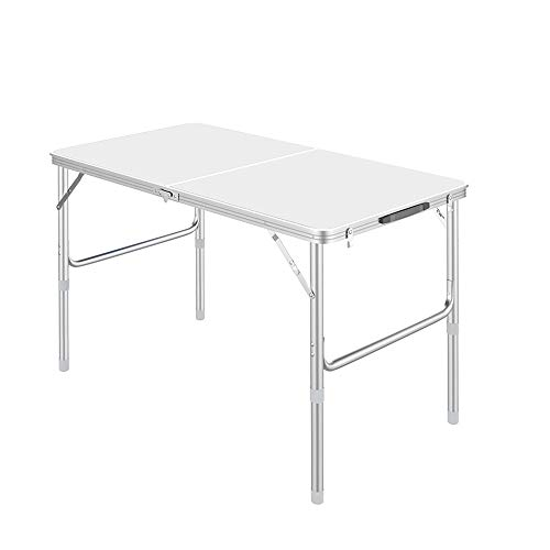 LYFHL-Folding table Mesa de Camping portátil Plegable de Aluminio de 90x60x38-70 cm...