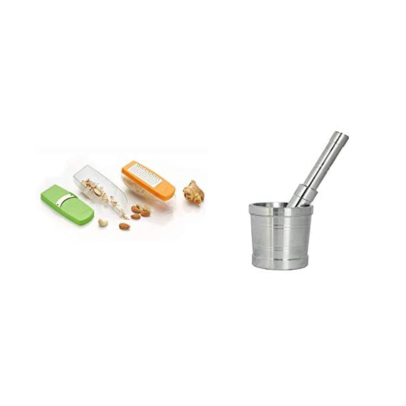 BABAKING Vegetable and Cheese Grater Out of The wrap with Stainless Steel Mortar and Pestle Set Khalbatta Okhli musal Spice Grinder Ginger Crusher Dry Fruit (Small 6x6 cm)