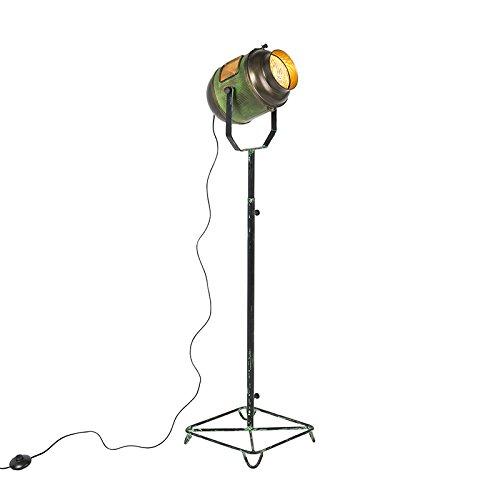 QAZQA Retro/Vintage Lámpara de pie vintage foco de cine verde envejecido y bronce 140cm - BYRON Metálica Otros Adecuado para LED Max. 1 x 40 Watt