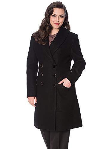Banned Retro Damen Mantel Leopard Lady Coat OT65018 (XS, Black)