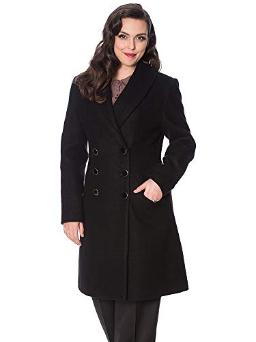 Banned Retro Damen Mantel Leopard Lady Coat OT65018 (L, Black)