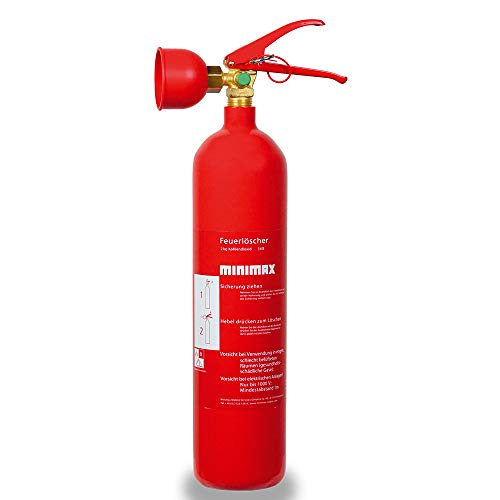 Minimax Kohlendioxid-Feuerlöscher 2 kg | Feuerlöscher 2 Kilo CO2 | Brandklasse B | EN3 | Made in Germany