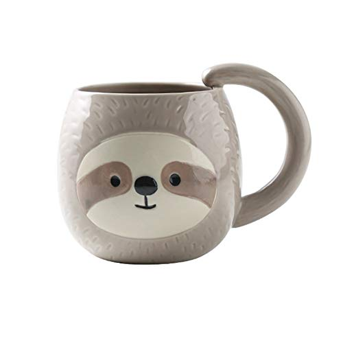 sloth Faultier kaffee tasse, nette Reise Teebecher Tier cup-Neuheits Karikatur 3D keramisches Porzellan Drinkware für Trägheits Liebhaber Geburtstags Erntedankfest Weihnachtsgeschenke, 400ml