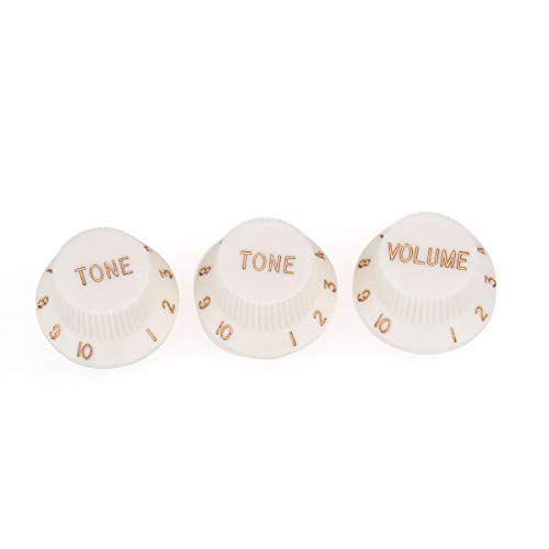 Musiclily Pro Metric Size 18 Spline 1 Volume 2 Tone Strat Knobs Set for Fender Stratocaster Squier Electric Guitar, Aged White