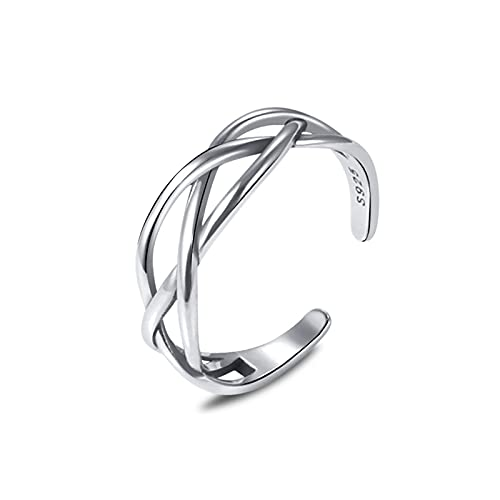 Hadskiss Solid 925 Sterling Silver Rings for Women, Adjustable Vintage Silver Toe Rings, Unisex Resizable Celtic Knot Infinity Open Finger Rings, Silver Thumb Rings for Men Girls, Gift for Christmas