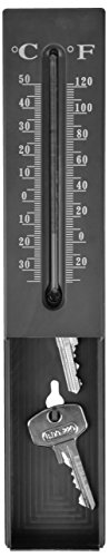 Esschert Design Thermometer Schlüsselversteck aus PP, Glas und Kerosin, 5,2 x 2,8 x 16,2 cm